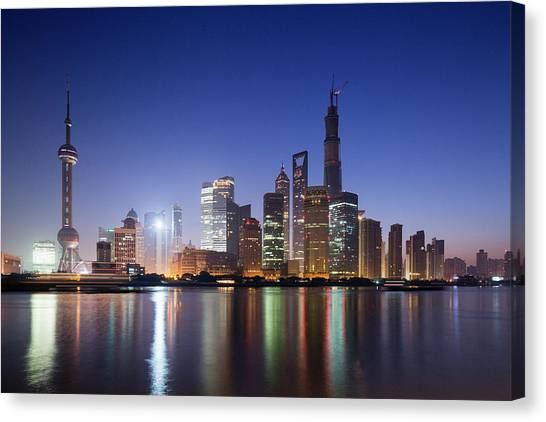 Tv Tower Canvas Print - China, Shanghai, Glow Of Twilight by Paul Souders