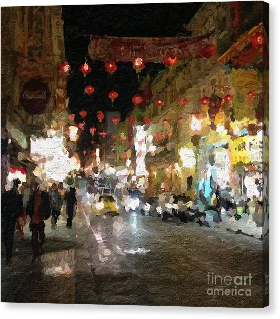 Night Lights Canvas Print - China Town At Night by Linda Woods