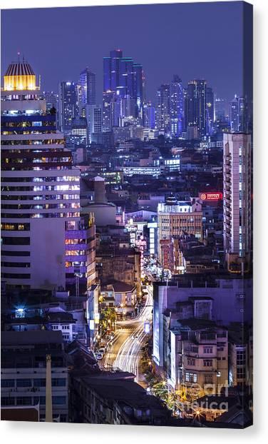 Shanghai Skyline Canvas Print - Chinatown by Anek Suwannaphoom