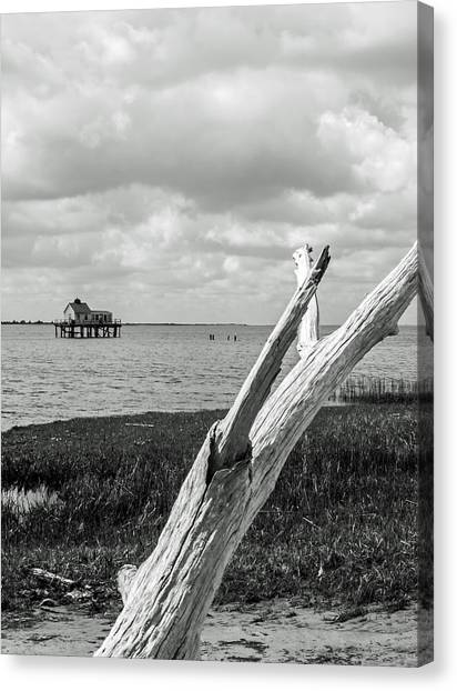 Chincoteague Oystershack Bw Vertical Canvas Print