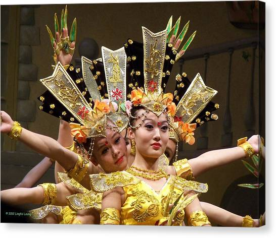 Chinese Dancers Perform Thousand Hands Guan Yin Canvas Print