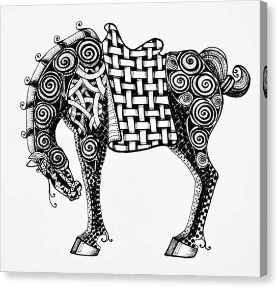 Chinese Horse - Zentangle Canvas Print