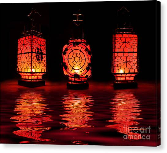Night Lights Canvas Print - Chinese Lanterns by Delphimages Photo Creations