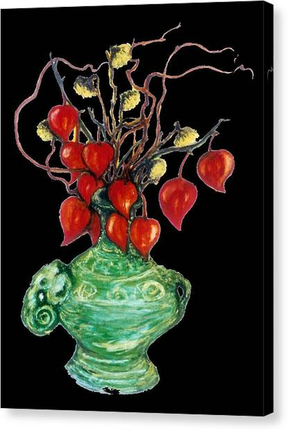 Chinese Lanterns On Black Canvas Print by Rae Chichilnitsky