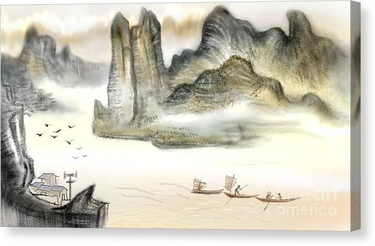 Chinese Painting On Computer Canvas Print