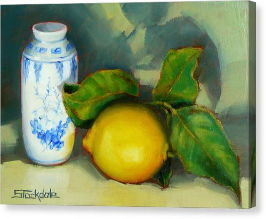 Chinese Pot And Lemon Canvas Print