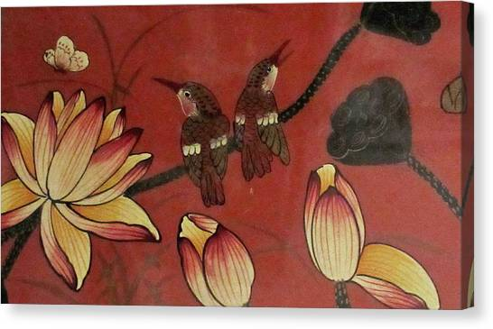 Chinese Red Lacquer Chest Detail Canvas Print