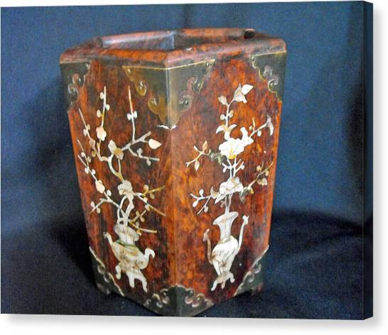 Chinese Scholar's Brush Container Canvas Print by Anonymous