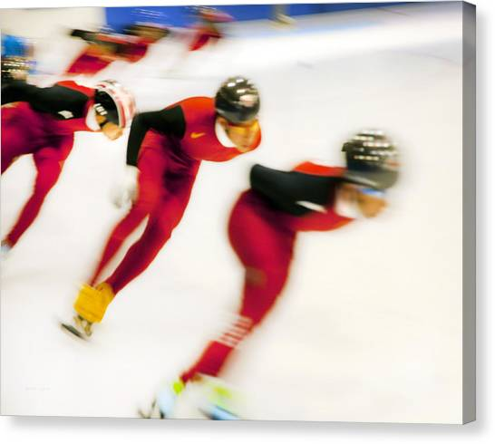 Speed Skating Canvas Print - Chinese Short Track  by Theresa Tahara