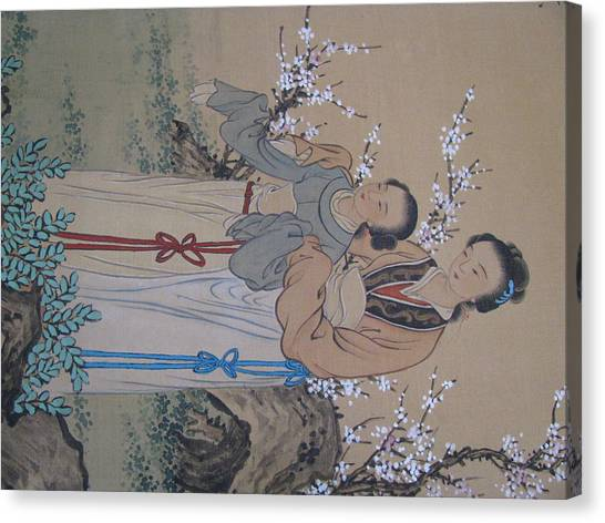 Big Sister Canvas Print - Chinese Silk Painting Big Sister Little Sister In The Garden Genre Painting by Pamela Benham