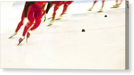 Speed Skating Canvas Print - Chinese Speed Skating  by Theresa Tahara