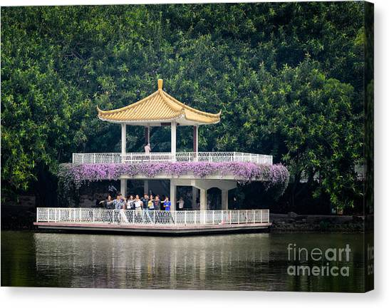 Chinese Style Pavillion In A Peaceful Park.  Canvas Print