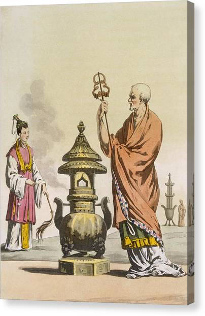 Priests Canvas Print - Chinese Taoist Religious Customs A by Italian School