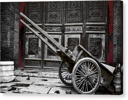 Chinese Wagon In Black And White Xi'an China Canvas Print