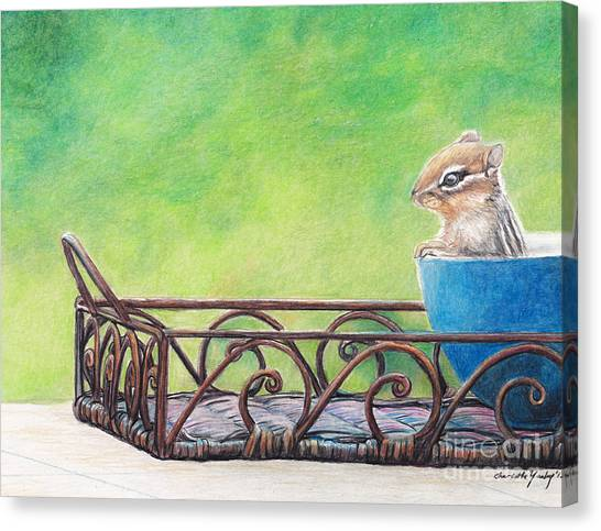 Chipmunk In Blue Bowl Canvas Print by Charlotte Yealey
