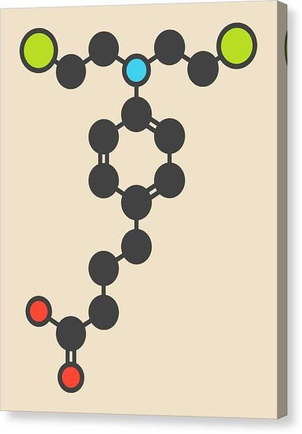 Chronic Canvas Print - Chlorambucil Leukaemia Drug Molecule by Molekuul