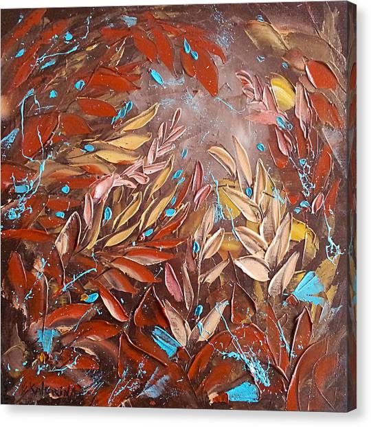 Chocolate And Turquoise Abstract Art Oil Painting By Ekaterina Chernova Canvas Print