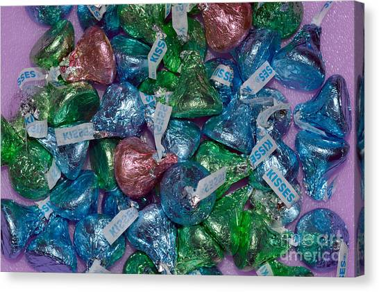 Easter Baskets Canvas Print - Chocolate Kisses On Purple by Alys Caviness-Gober