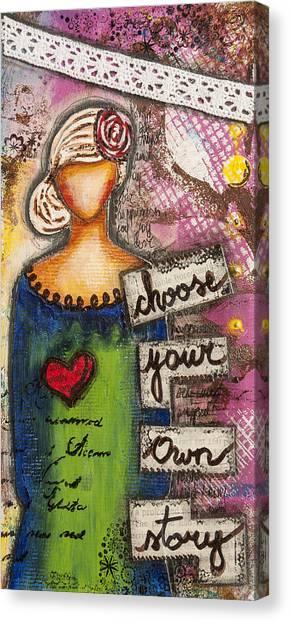Choose Your Own Story Inspirational Mixed Media Folk Art  Canvas Print