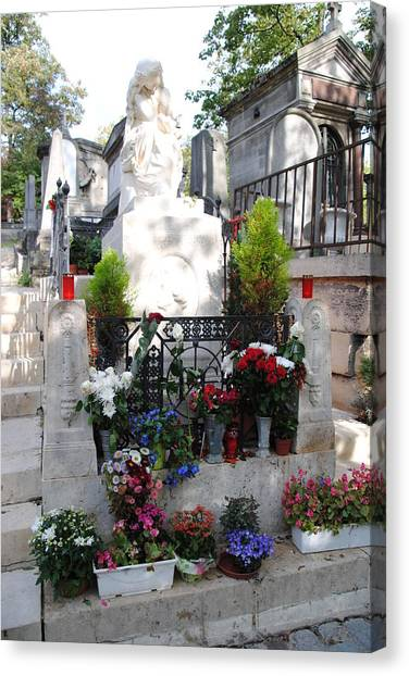 Chopin's Gravesite At Pere Lachaise Cemetery Canvas Print by Jacqueline M Lewis