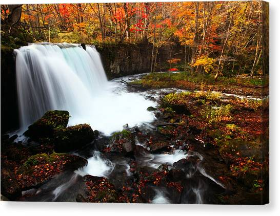 Canvas Print featuring the photograph Choushi - Ootaki Waterfall In Autumn by Brad Brizek