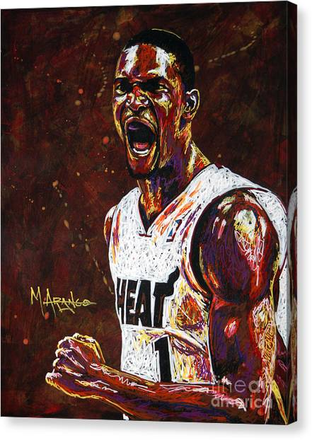 Miami Heat Canvas Print - Chris Bosh by Maria Arango