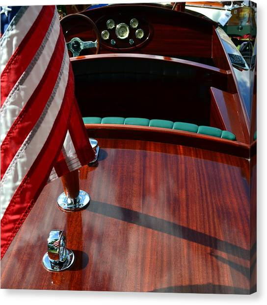 Chris Craft With Flag And Steering Wheel Canvas Print