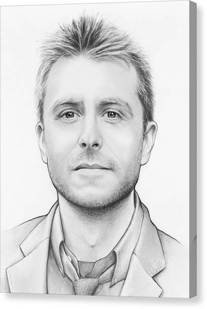 Pencil Art Canvas Print - Chris Hardwick by Olga Shvartsur