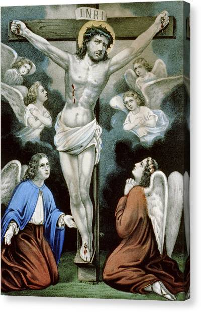 Orthodox Art Canvas Print - Christ And The Angels Circa 1856 by Aged Pixel