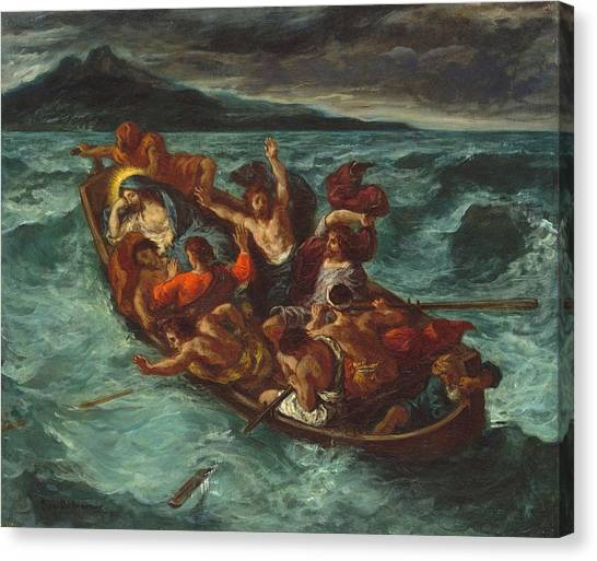 The Metropolitan Museum Of Art Canvas Print - Christ Asleep During The Tempest by Eugene Delacroix