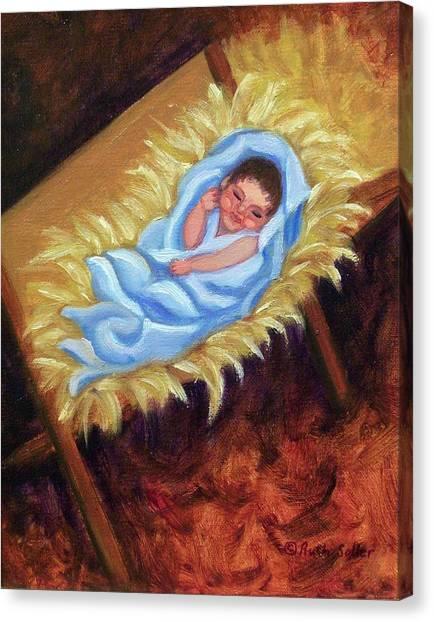 Christ Child In Manger Canvas Print