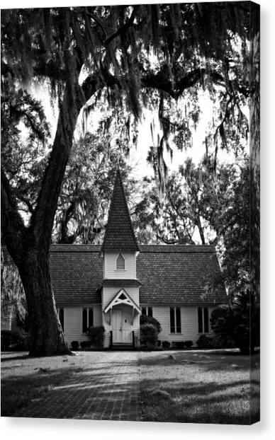 Christ Church Frederica In Black And White Canvas Print