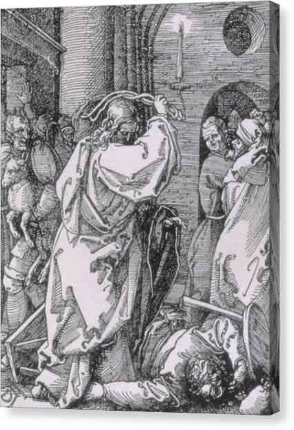 Messiah Canvas Print - Christ Expelling The Moneychangers From The Temple by Albrecht Durer or Duerer