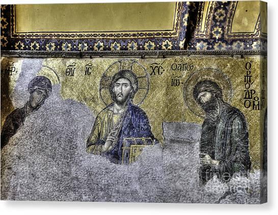 Byzantine Canvas Print - Christ Mosaic by Emily Kay