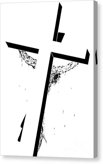 The Christ Ink Drawing Canvas Print - Christ On The Cross by Justin Moore