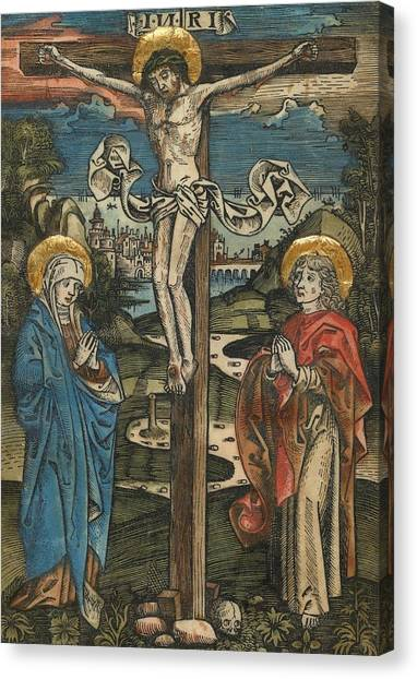 Messiah Canvas Print - Christ On The Cross With Mary And Saint John by German School