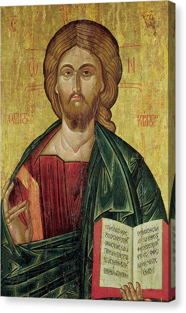 Byzantine Art Canvas Print - Christ Pantocrator by Bulgarian School