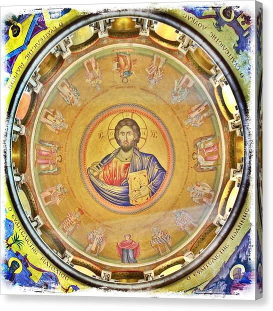 Byzantine Icon Canvas Print - Christ Pantocrator -- Church Of The Holy Sepulchre by Stephen Stookey