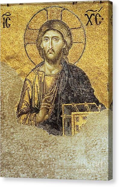 Christ Pantocrator-detail Of Deesis Mosaic Hagia Sophia-judgement Day Canvas Print