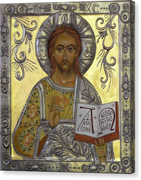 Christ Pantocrator Canvas Print by Mary jane Miller