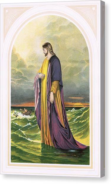 Messiah Canvas Print - Christ Walking On The Sea by English School