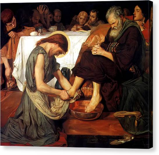 Feet Canvas Print - Christ Washing Peter's Feet by Ford Madox Brown