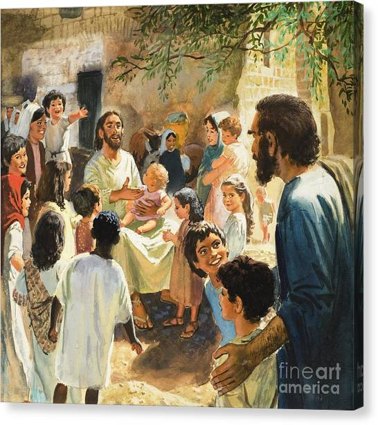 Teachers Canvas Print - Christ With Children by Peter Seabright