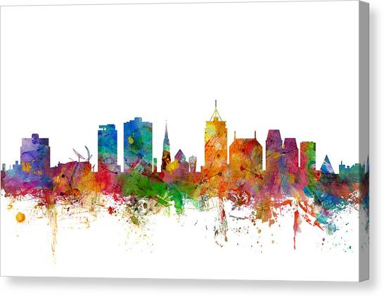 New Zealand Canvas Print - Christchurch New Zealand Skyline by Michael Tompsett