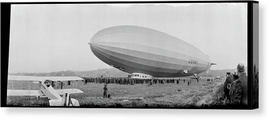 Blimps Canvas Print - Christening Of The Los Angeles by Fred Schutz Collection