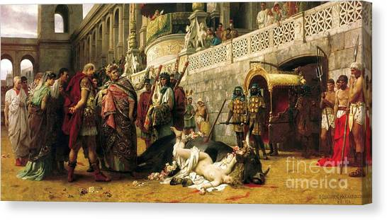 Christian Dirce In The Circus Of Nero Canvas Print by Pg Reproductions