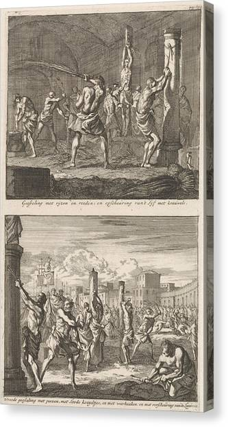 Early Christian Art Canvas Print - Christians Are Flogged In A Cell And Christians Are Flogged by Jan Luyken And Jacobus Van Hardenberg And Barent Visscher