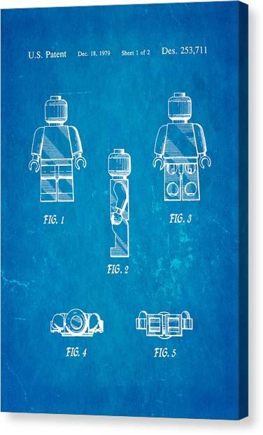 Household Canvas Print - Christiansen Lego Figure 2 Patent Art 1979 Blueprint by Ian Monk