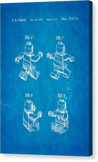 Household Canvas Print - Christiansen Lego Figure 3 Patent Art 1979 Blueprint by Ian Monk