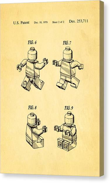 Household Canvas Print - Christiansen Lego Figure 3 Patent Art 1979 by Ian Monk